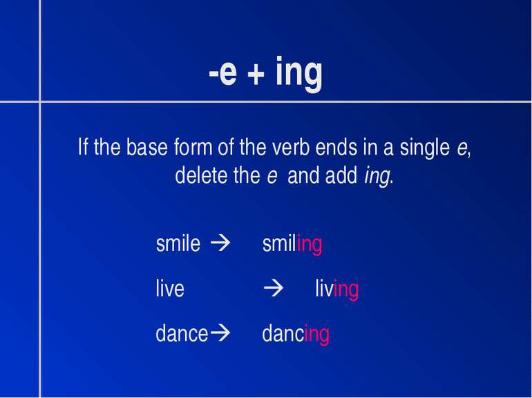 -e + ing If the base form of the verb ends in a single e, delete the e and ad...