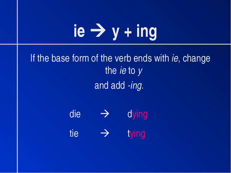 ie y + ing If the base form of the verb ends with ie, change the ie to y and ...