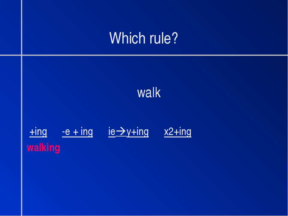 Which rule? walk +ing -e + ing ie y+ing x2+ing walking