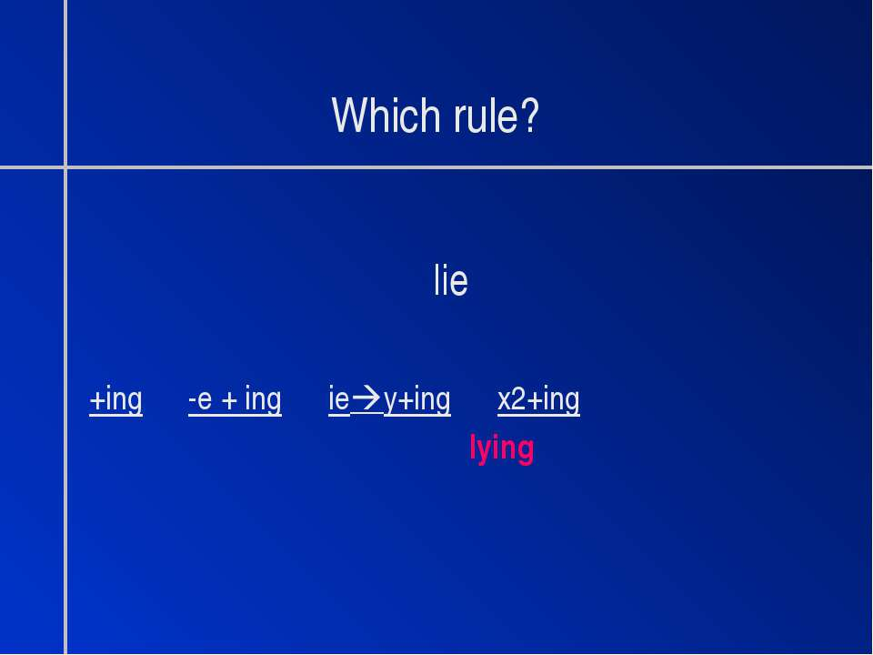 Which rule? lie +ing -e + ing ie y+ing x2+ing lying