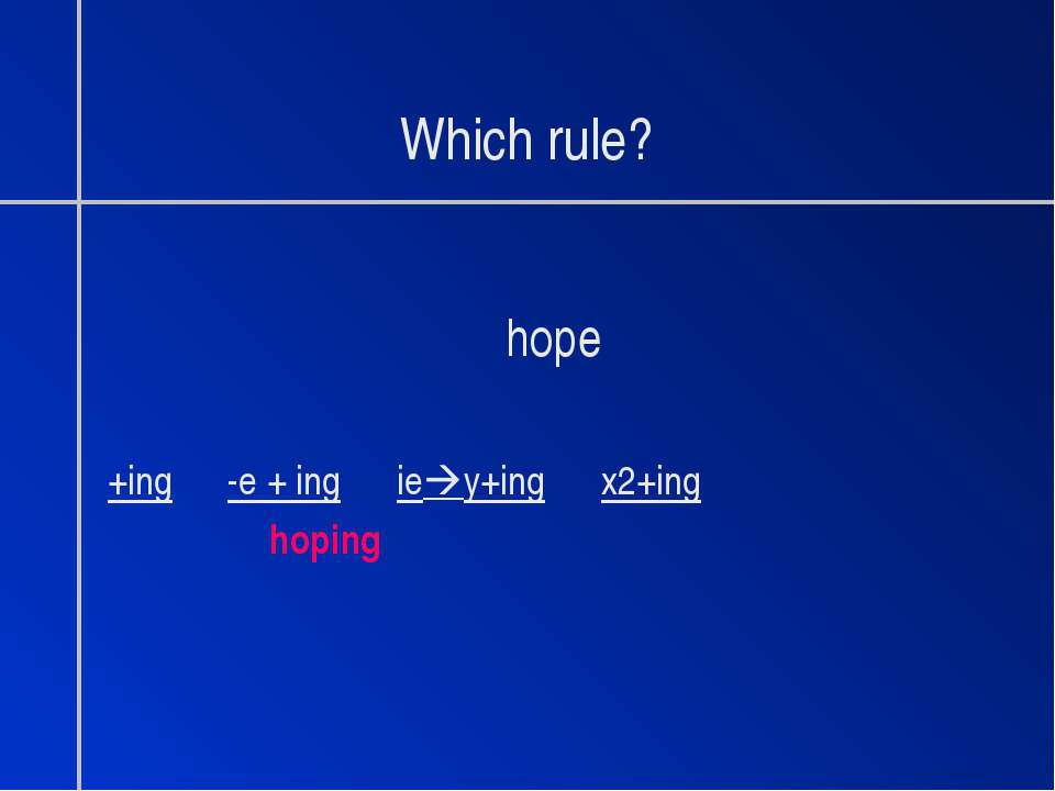 Which rule? hope +ing -e + ing ie y+ing x2+ing hoping