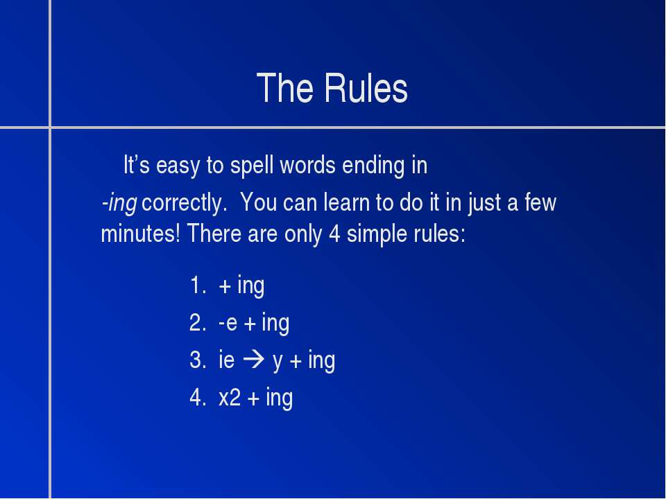 The Rules It's easy to spell words ending in -ing correctly. You can learn to...