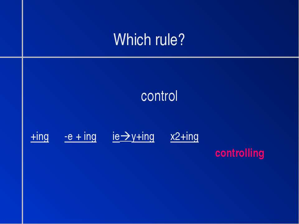 Which rule? control +ing -e + ing ie y+ing x2+ing controlling