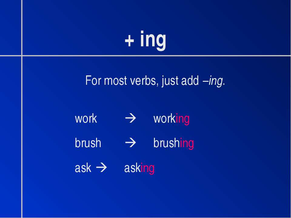 + ing For most verbs, just add –ing. work working brush brushing ask asking