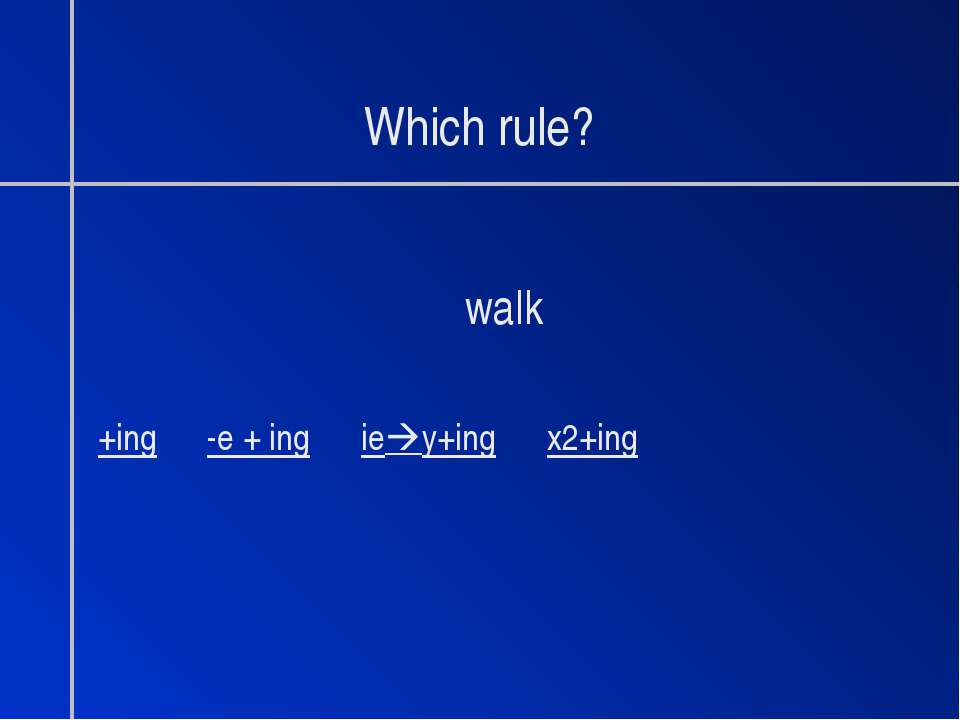 Which rule? walk +ing -e + ing ie y+ing x2+ing
