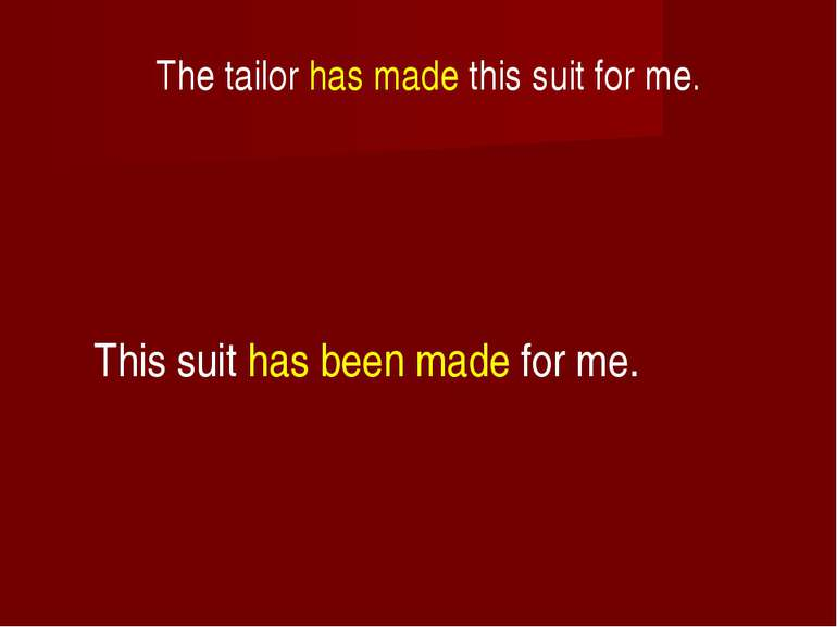 The tailor has made this suit for me. This suit has been made for me.