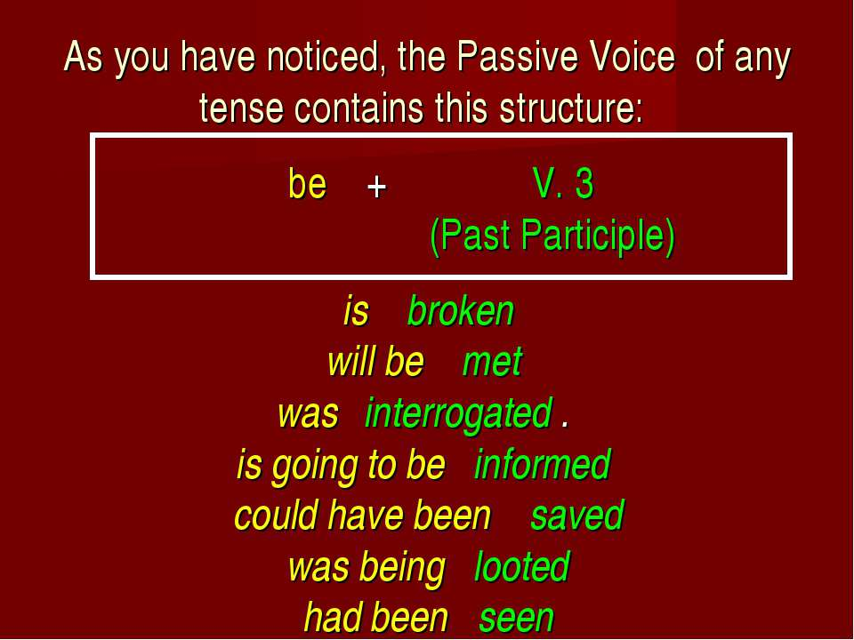 As you have noticed, the Passive Voice of any tense contains this structure: ...