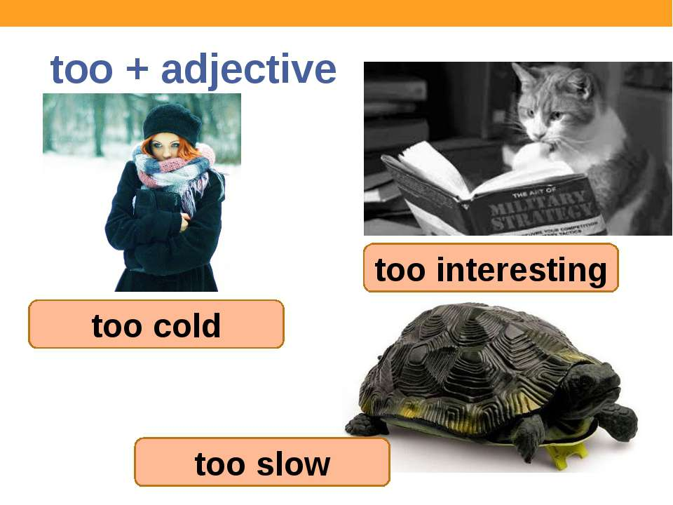 too + adjective too cold too interesting too slow