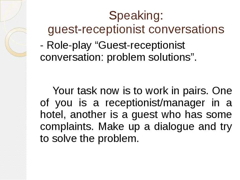 "Speaking: guest-receptionist conversations - Role-play ""Guest-receptionist co..."