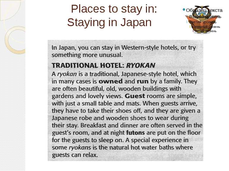 Places to stay in: Staying in Japan