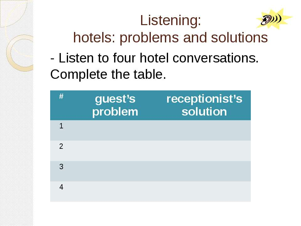 Listening: hotels: problems and solutions - Listen to four hotel conversation...