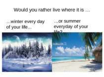 Would you rather live where it is … …winter every day of your life... …or sum...