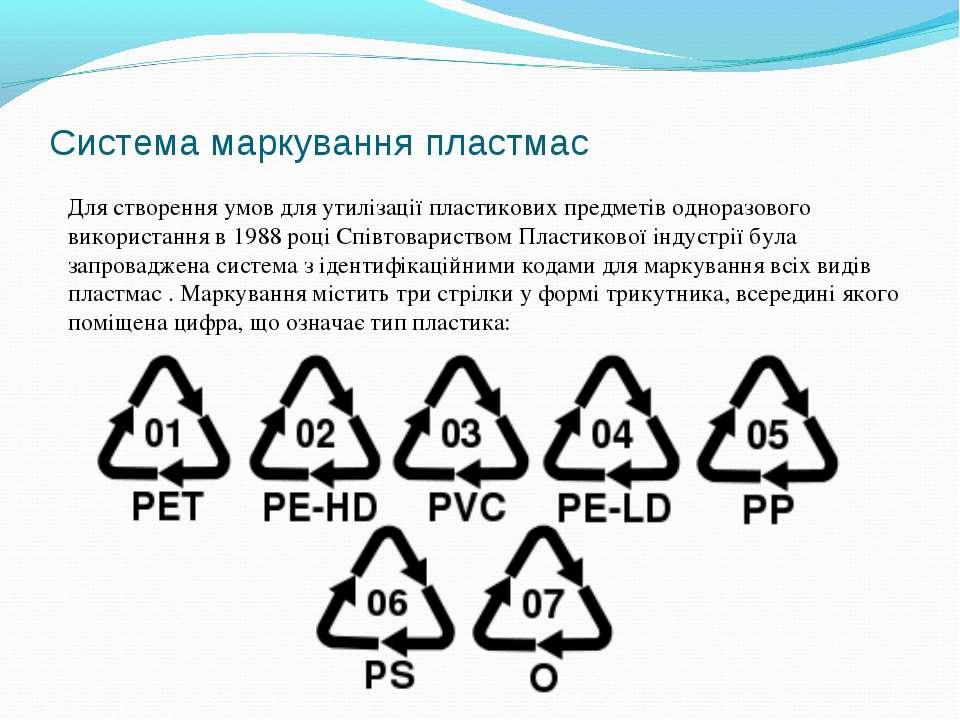 Система маркування пластмас Для створення умов для утилізації пластикових пре...