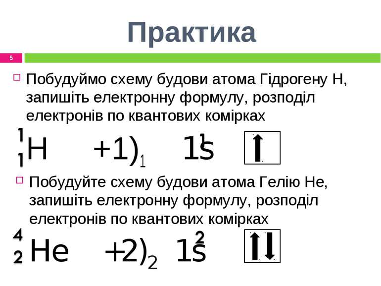 Практика Побудуймо схему будови атома Гідрогену Н, запишіть електронну формул...