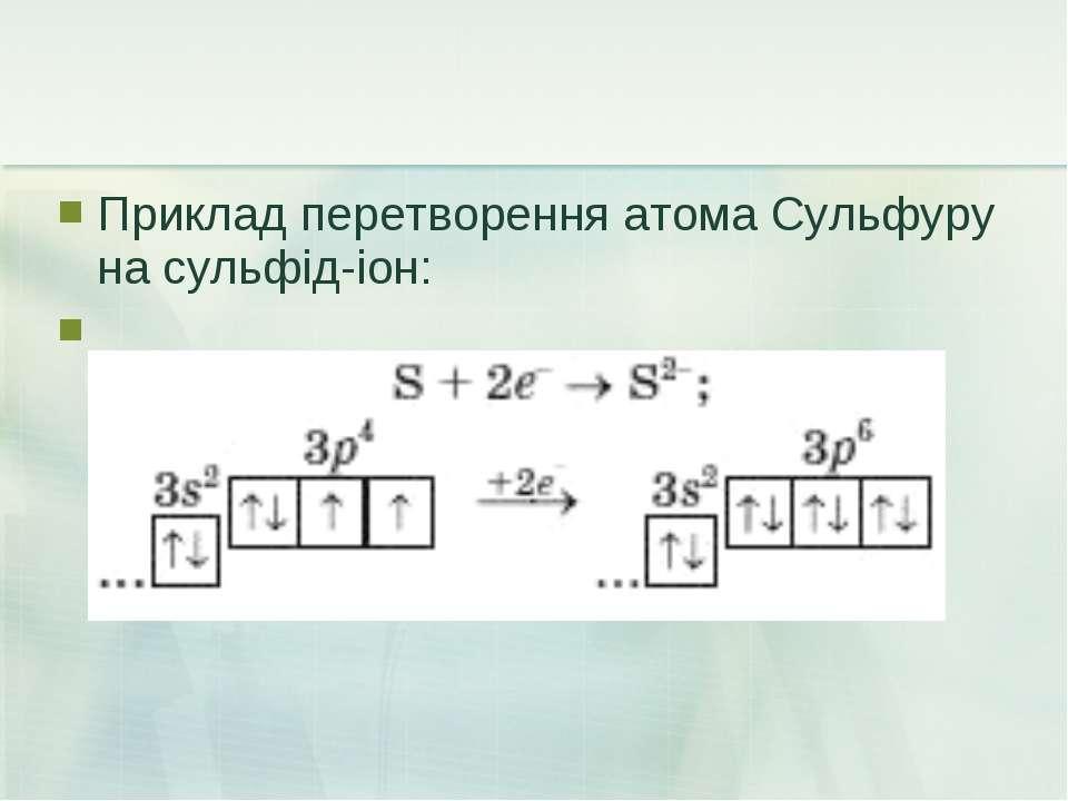 Приклад перетворення атома Сульфуру на сульфід-іон: