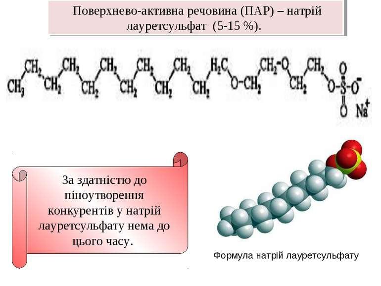 Формула натрій лауретсульфату За здатністю до піноутворення конкурентів у нат...