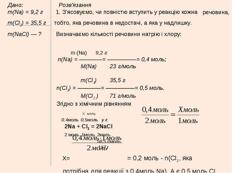 Дано: Розв'язання m(Na) = 9,2 г 1. З'ясовуємо, чи повністю вступить у реакцію...