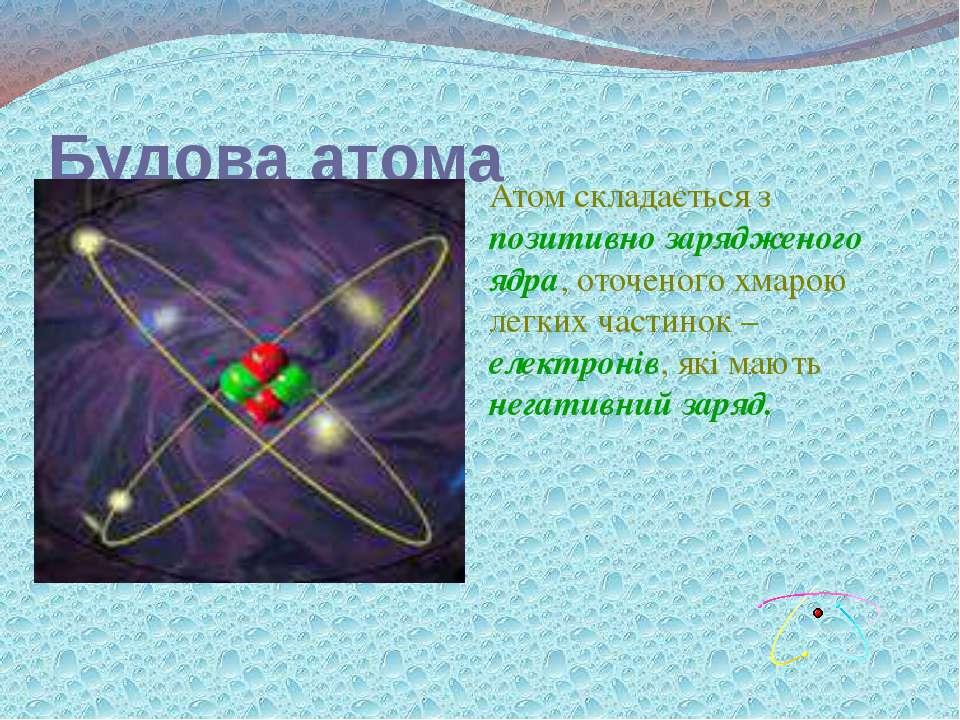Будова атома Атом складається з позитивно зарядженого ядра, оточеного хмарою ...