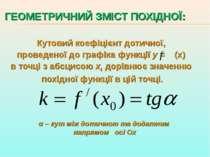 ГЕОМЕТРИЧНИЙ ЗМІСТ ПОХІДНОЇ: Кутовий коефіцієнт дотичної, проведеної до графі...