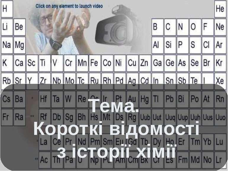 Тема. Короткі відомості з історії хімії