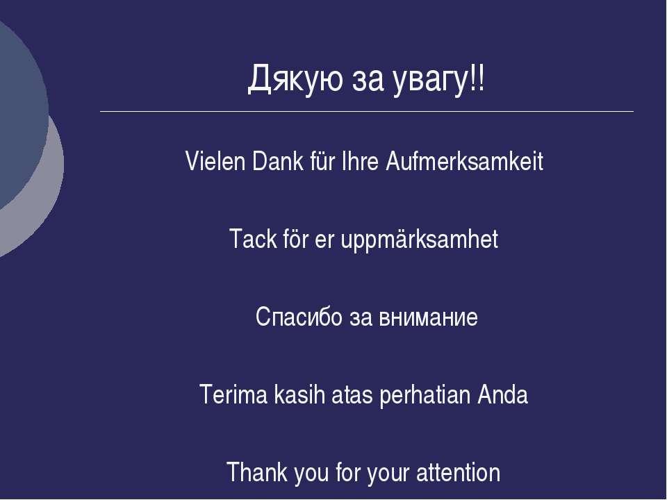 Дякую за увагу!! Vielen Dank für Ihre Aufmerksamkeit Tack för er uppmärksamhe...