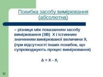 Похибка засобу вимірювання (абсолютна) – різниця між показанням засобу вимірю...