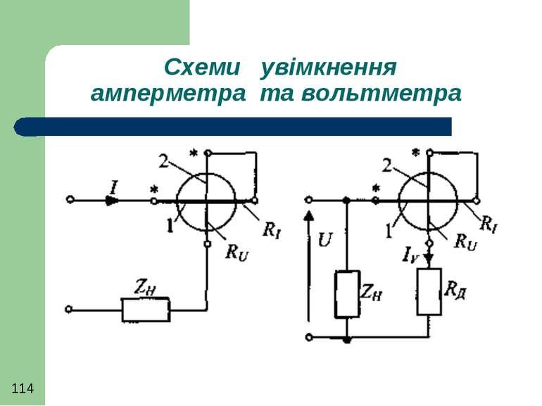 Схеми увімкнення амперметра та вольтметра