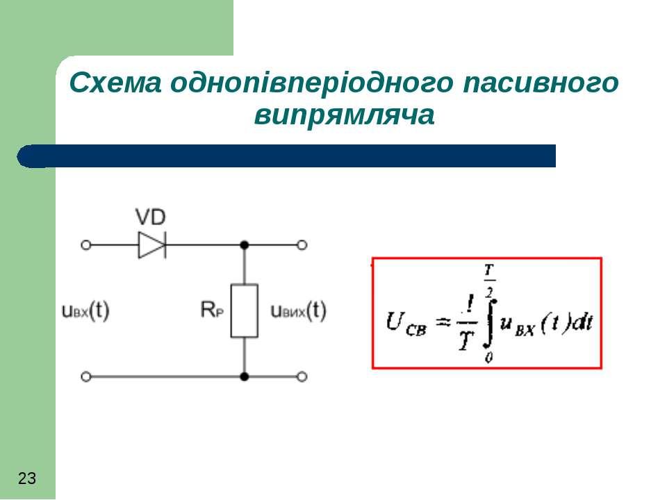 Схема однопівперіодного пасивного випрямляча