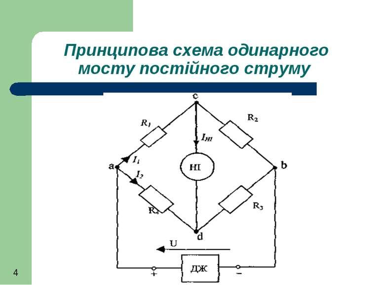 Принципова схема одинарного мосту постійного струму