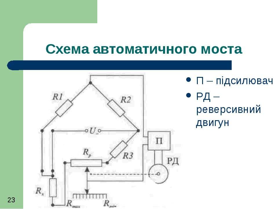 Схема автоматичного моста П – підсилювач РД – реверсивний двигун
