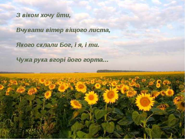 З віком хочу йти, Вчувати вітер віщого листа, Якого склали Бог, і я, і ти....