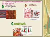 За мотивами орнаменти вишивок поділяють на три групи: