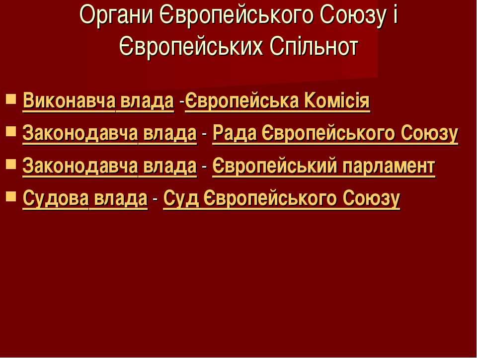 Органи Європейського Союзу і Європейських Спільнот Виконавча влада -Європейсь...