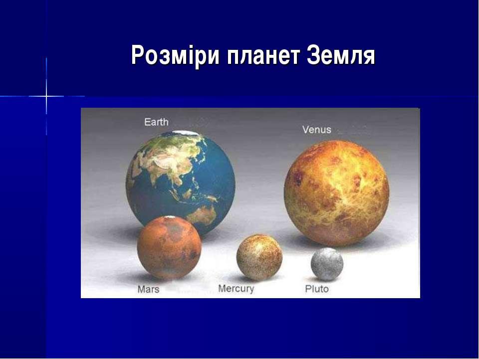 Розміри планет Земля