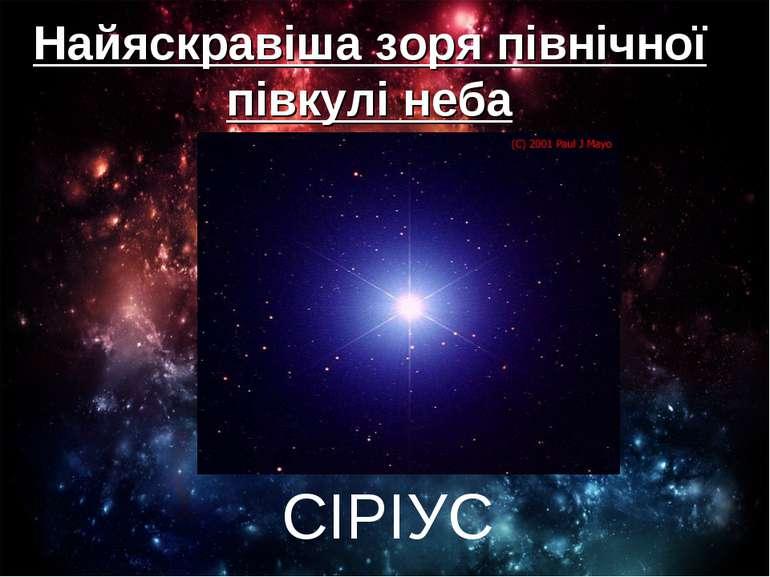 Найяскравіша зоря північної півкулі неба СІРІУС