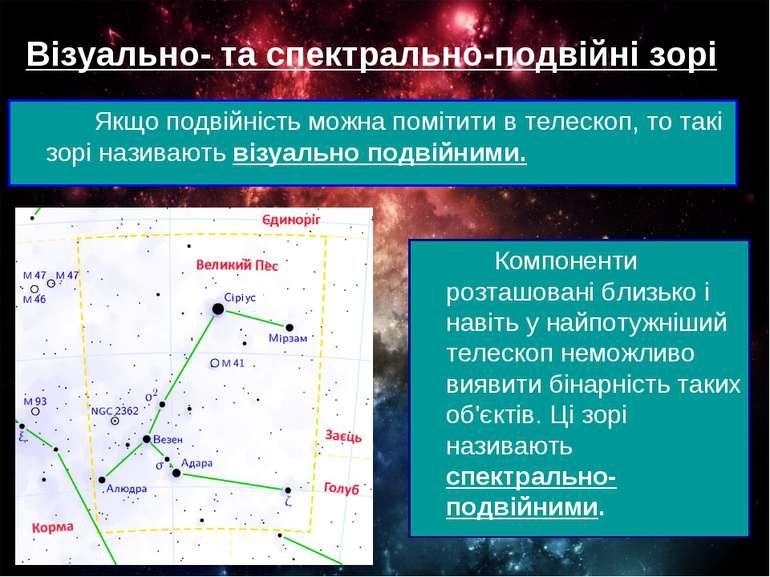 Візуально- та спектрально-подвійні зорі Якщо подвійність можна помітити в тел...