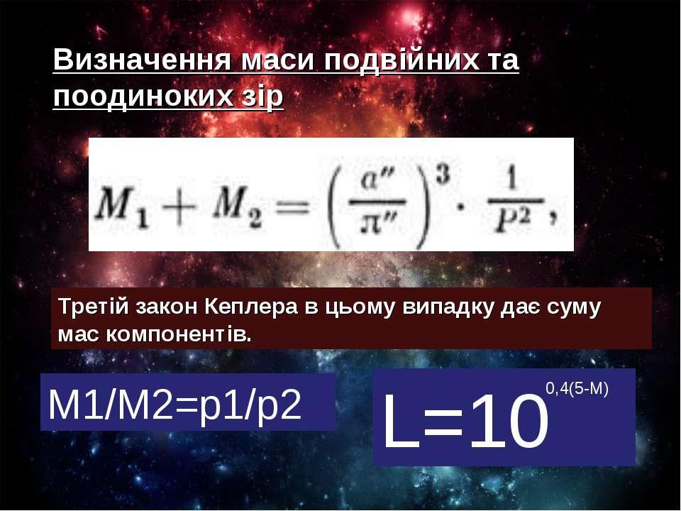 Визначення маси подвійних та поодиноких зір Третій закон Кеплера в цьому випа...