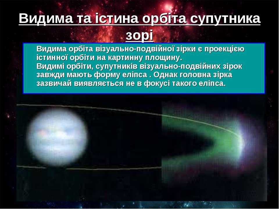 Видима та істина орбіта супутника зорі Видима орбіта візуально-подвійної зірк...