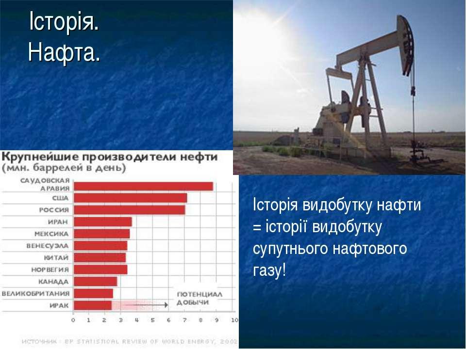 Історія. Нафта. Історія видобутку нафти = історії видобутку супутнього нафтов...
