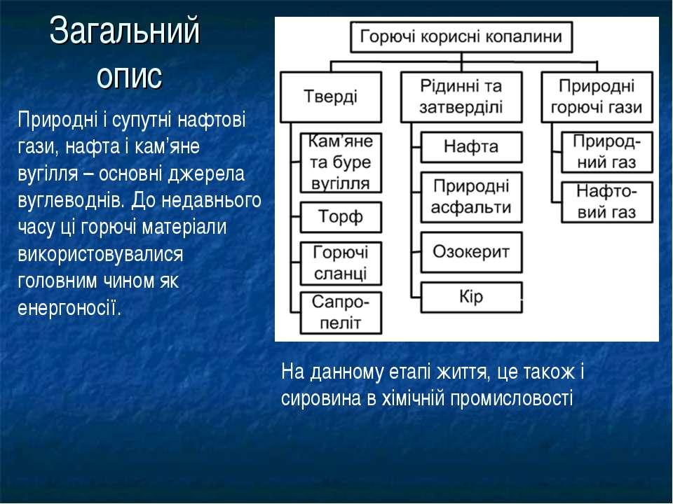 Загальний опис Природні і супутні нафтові гази, нафта і кам'яне вугілля – осн...
