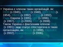 Україна є членом таких організацій, як:ООН(з 1945),ВООЗ(з 1948),ЮНЕСКО(...