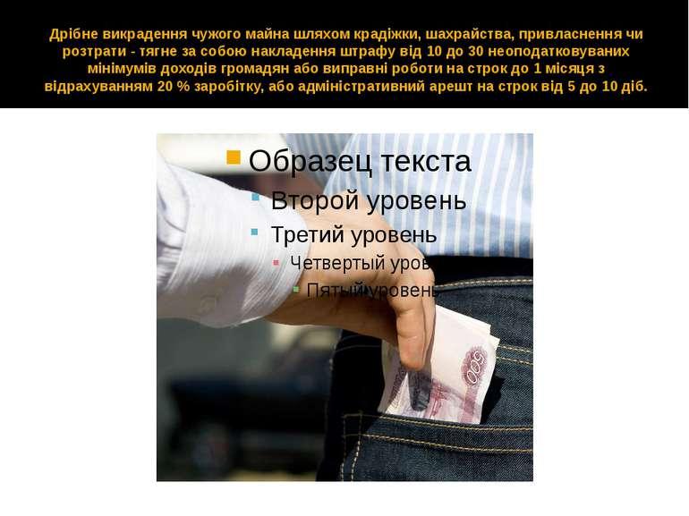 Дрібне викрадення чужого майна шляхом крадіжки, шахрайства, привласнення чи р...