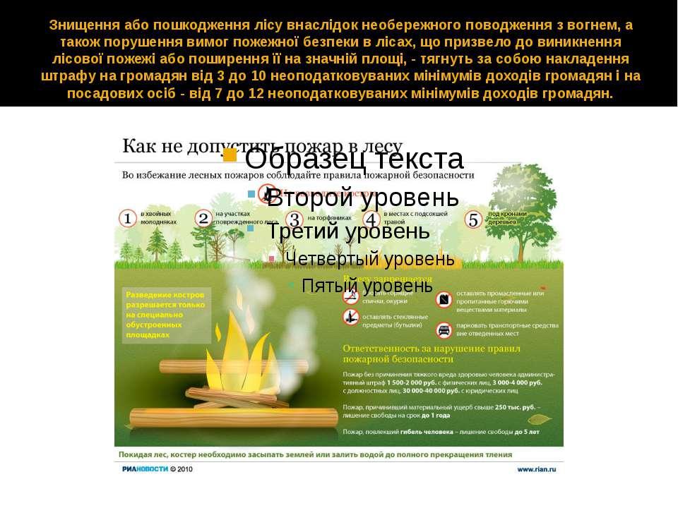 Знищення або пошкодження лісу внаслідок необережного поводження з вогнем, а т...