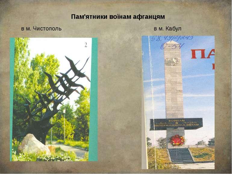 Пам'ятники воїнам афганцям в м. Чистополь в м. Кабул