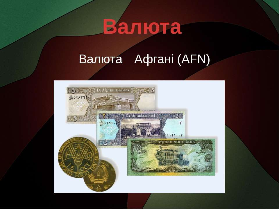 Валюта Валюта Афгані (AFN)