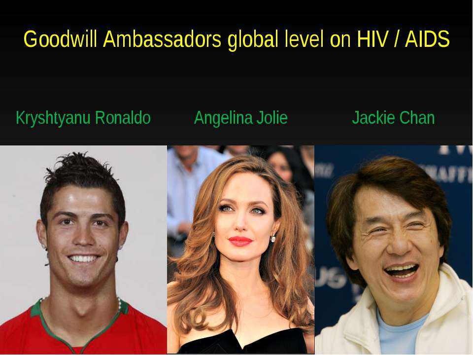 Goodwill Ambassadors global level on HIV / AIDS Kryshtyanu Ronaldo Angelina J...