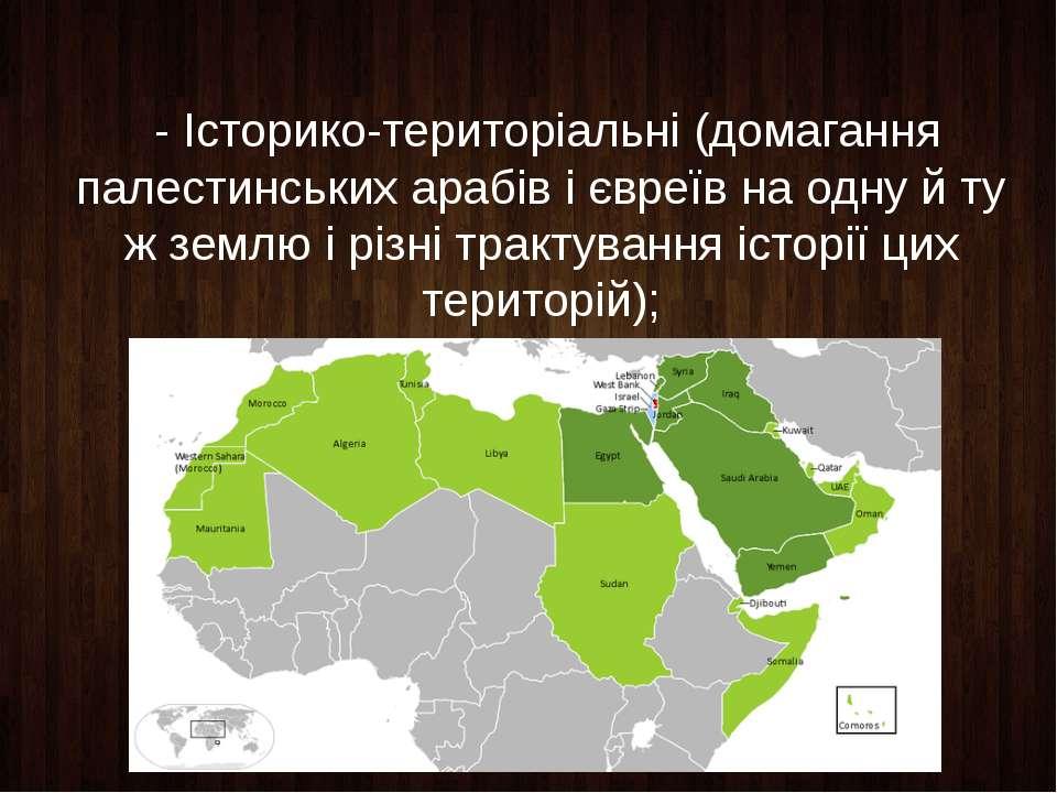 - Історико-територіальні (домагання палестинських арабів і євреїв на одну й т...