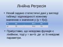 Лінійна Регресія Нехай задано статистичні дані у вигляді таблиці і відповідно...