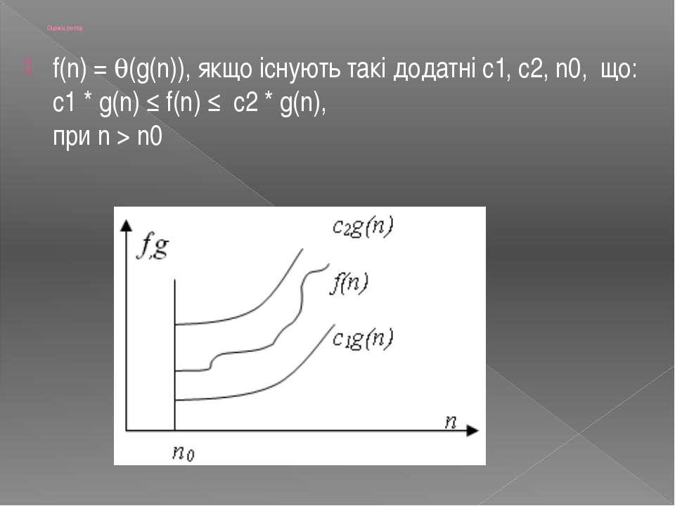 Оцінка (тетта) f(n) = (g(n)), якщо існують такі додатні с1, с2, n0, що: с1 * ...