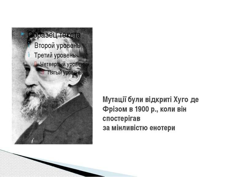 Мутації були відкриті Хугоде Фрізомв1900р., коли він спостерігав замінли...